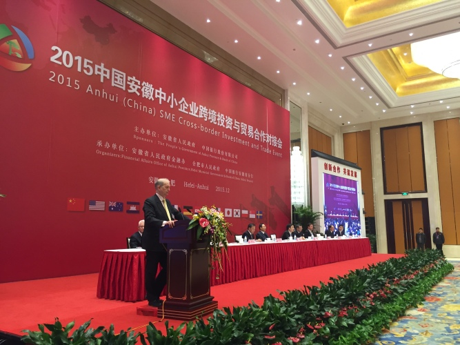 European Chamber Shanghai Vice-chair Delivery Speech in China (Anhui) SME Cross-border  Investment & Trade Event